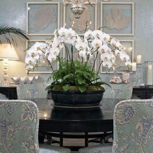 Arranjo de orquídeas artificiais imponentes