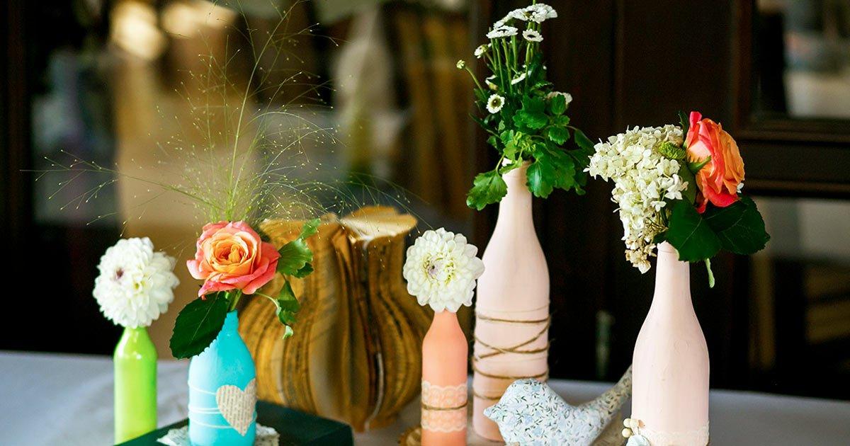 Arranjos de mesa artificiais em garrafas - Crysmax