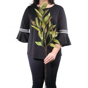 Haste de Folhas 86cm Artificial Verde para Decoração